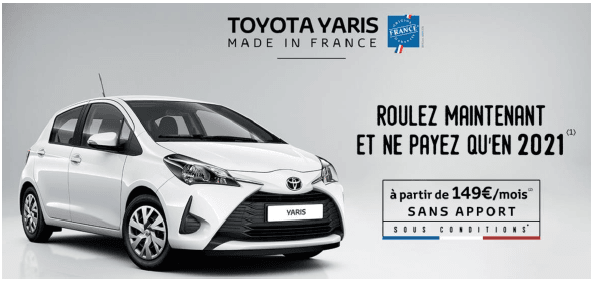 Toyota propose un financement avec 6 loyers à 0€ avec ou sans apport