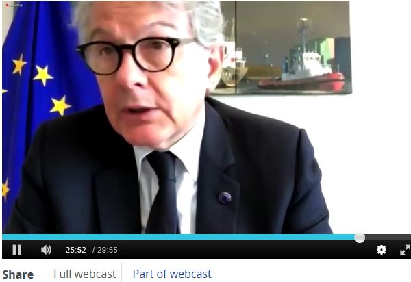 """Thierry Breton, Commissaire européen au marché intérieur : """"Il n'y aura pas de report des objectifs 2020"""""""