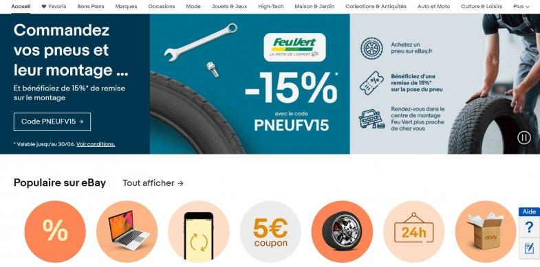 eBay propose 15% de remise sur le montage de ses pneus dans le réseau Feu Vert