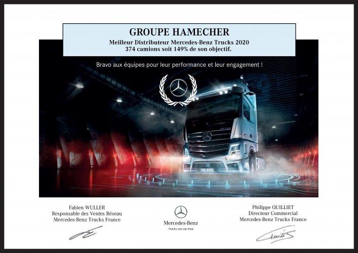 Le groupe Hamecher, meilleur distributeur Mercedes-Benz Trucks de 2020